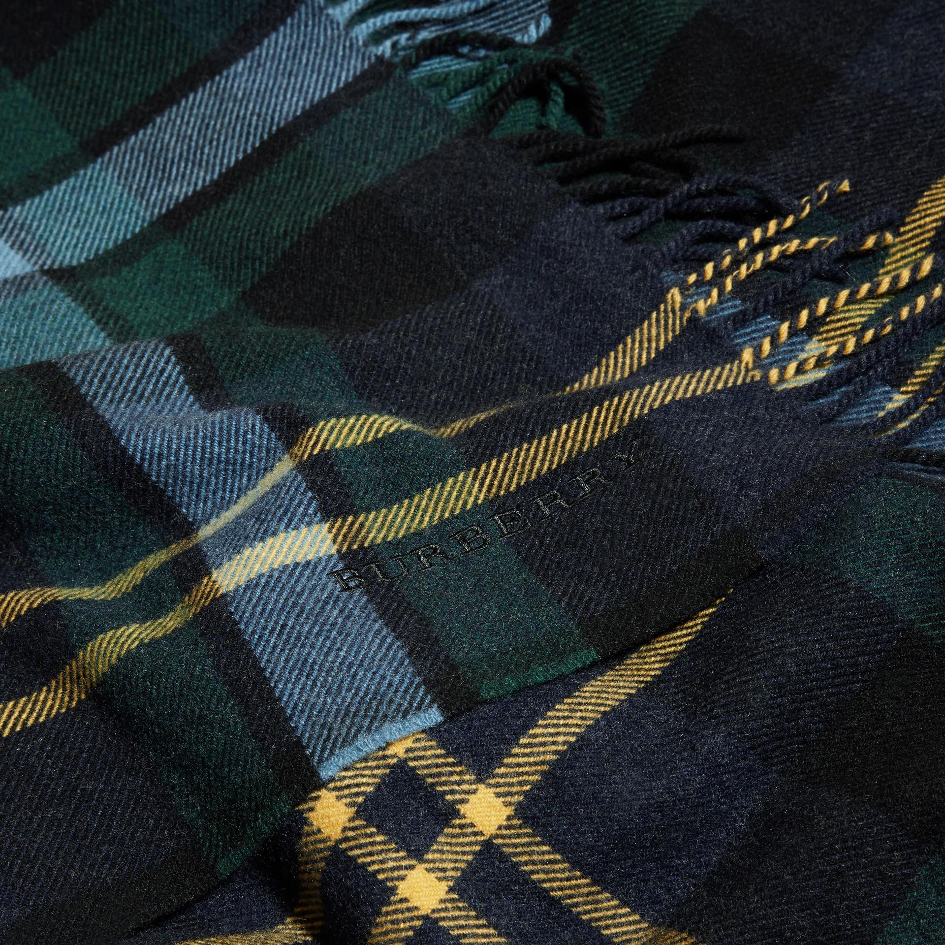 Ink Oversize Tartan Wool Cashmere Fringe Scarf Ink - gallery image 2