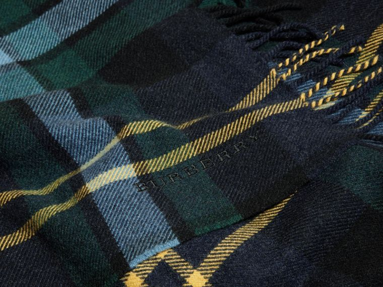 Ink Oversize Tartan Wool Cashmere Fringe Scarf Ink - cell image 1