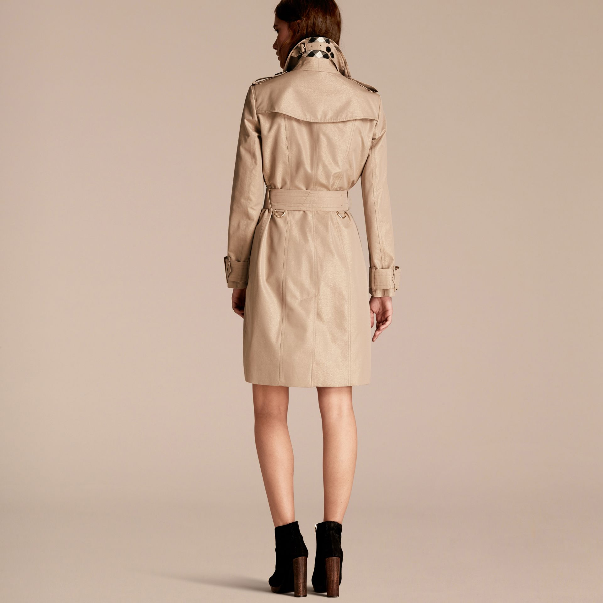 Nude gold Metallic Cotton Gabardine Trench Coat with Oversize Buckle Detail - gallery image 3
