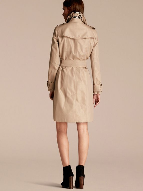 Nude gold Metallic Cotton Gabardine Trench Coat with Oversize Buckle Detail - cell image 2