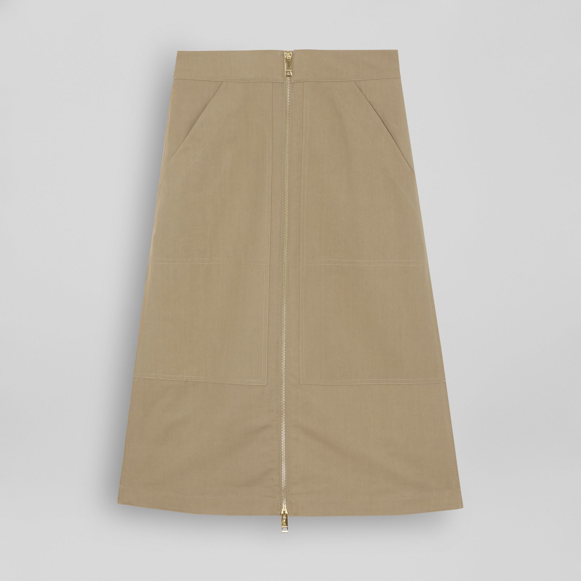 Cotton Silk High-waisted Skirt in Beige - Women | Burberry Singapore - gallery image 3