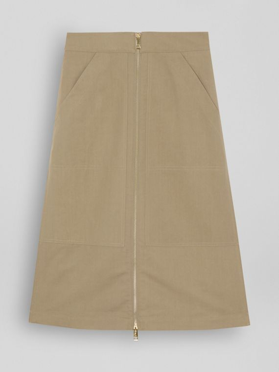 Cotton Silk High-waisted Skirt in Beige