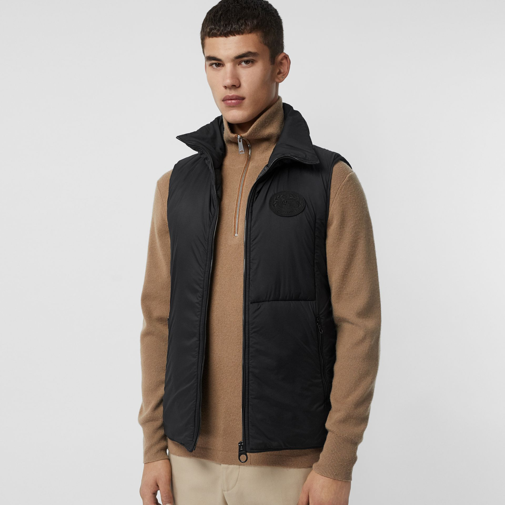 Check Car Coat with Detachable Gilet in Dark Camel - Men | Burberry United States - gallery image 4
