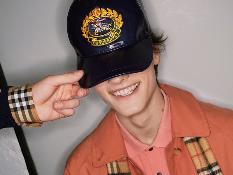 Archive Logo Coated Cotton Baseball Cap in Navy | Burberry - cell image 4