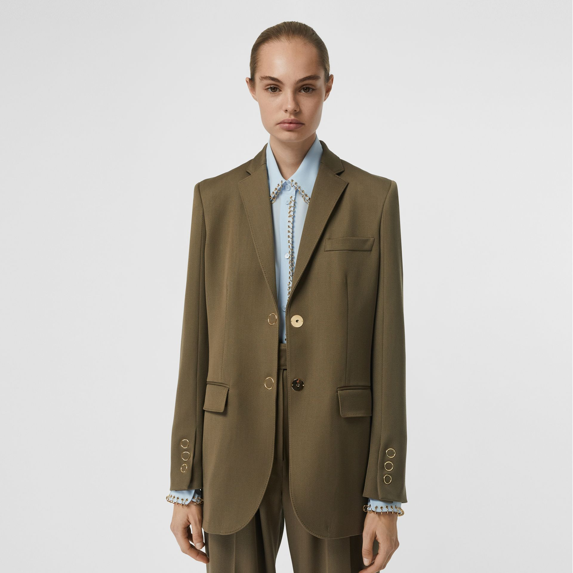 Press-stud Wool Twill Tailored Jacket in Warm Taupe - Women | Burberry - gallery image 4