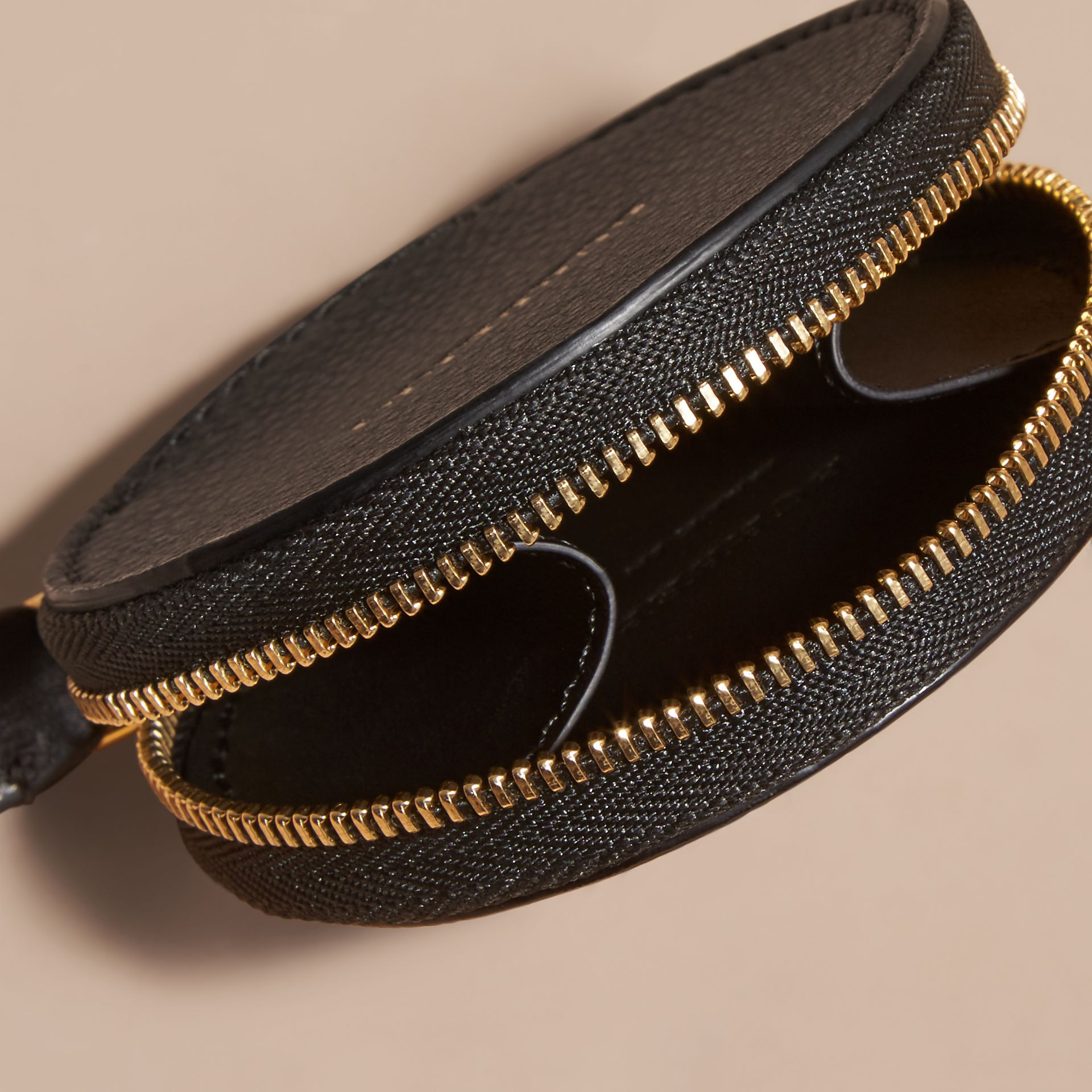 Studded Haymarket Check and Leather Coin Case - gallery image 5