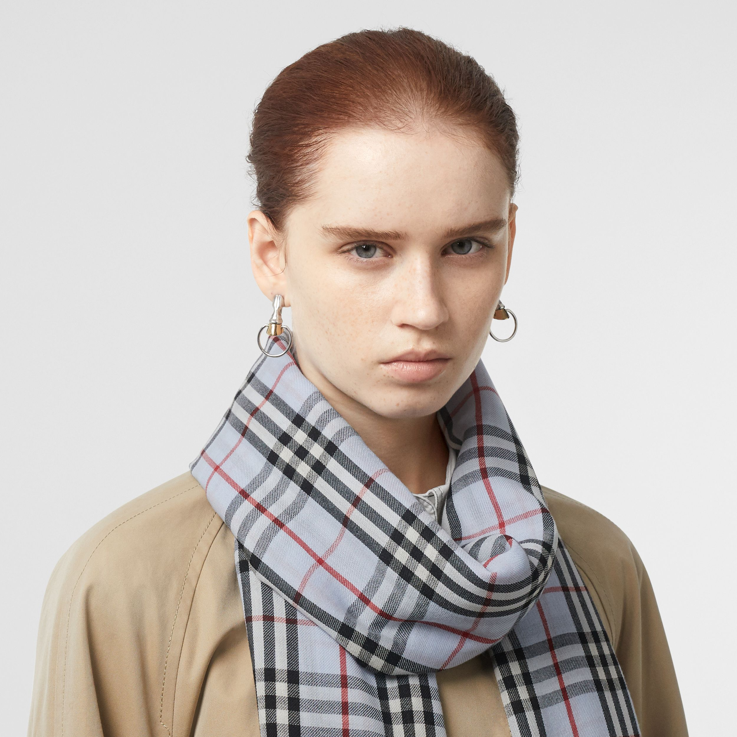 Embroidered Vintage Check Lightweight Cashmere Scarf in Pale Blue | Burberry - 3