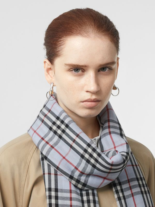 Embroidered Vintage Check Lightweight Cashmere Scarf in Pale Blue | Burberry Australia - cell image 2