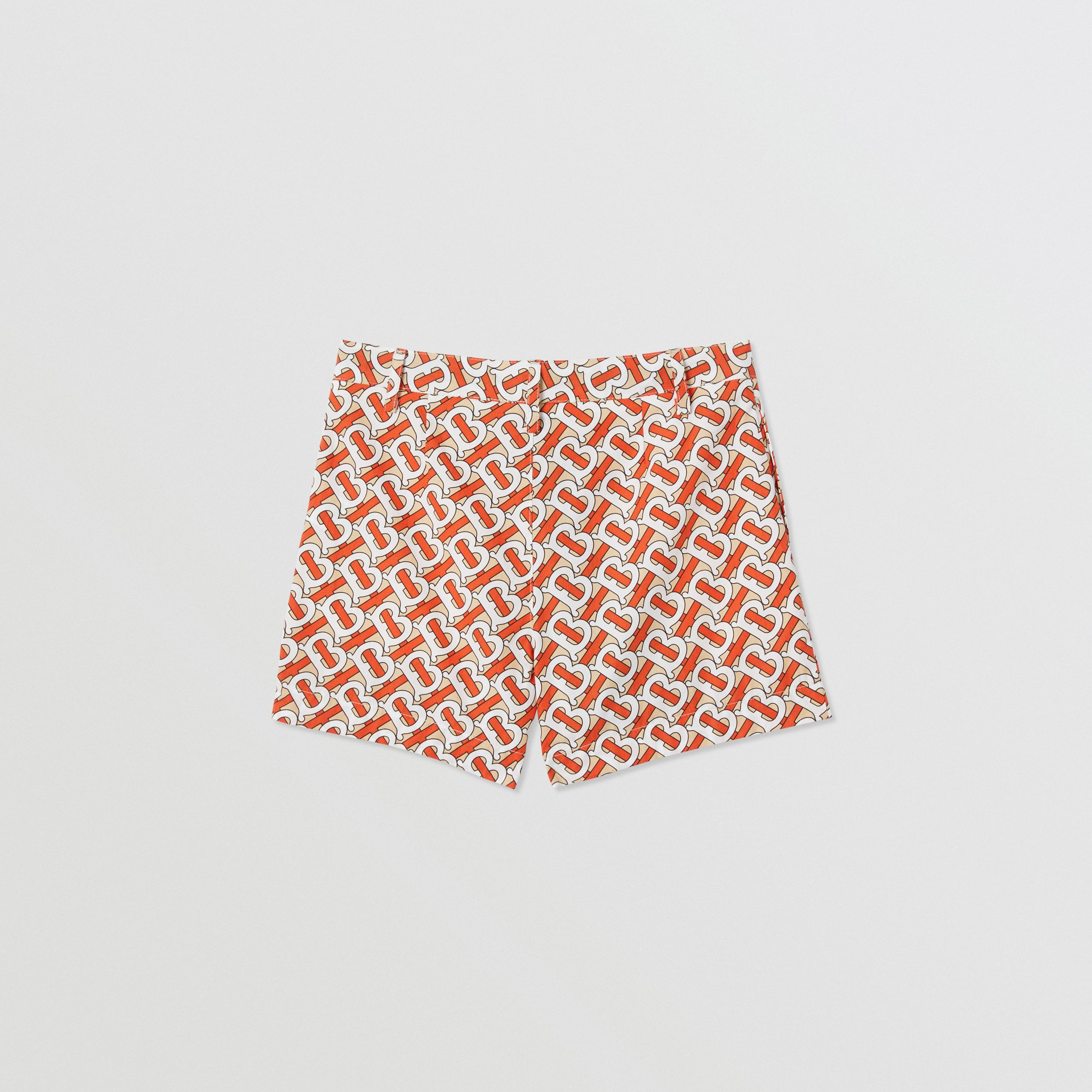 Monogram Print Cotton Poplin Shorts in Vermilion Red | Burberry - 4