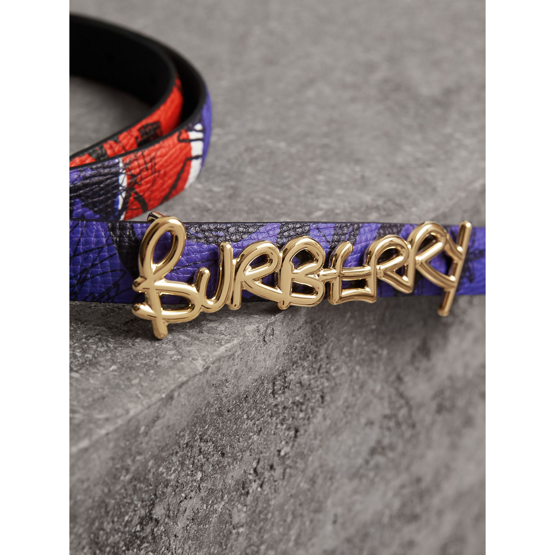 Doodle Detail Reversible Leather Belt in Red/blue - Women | Burberry - gallery image 1