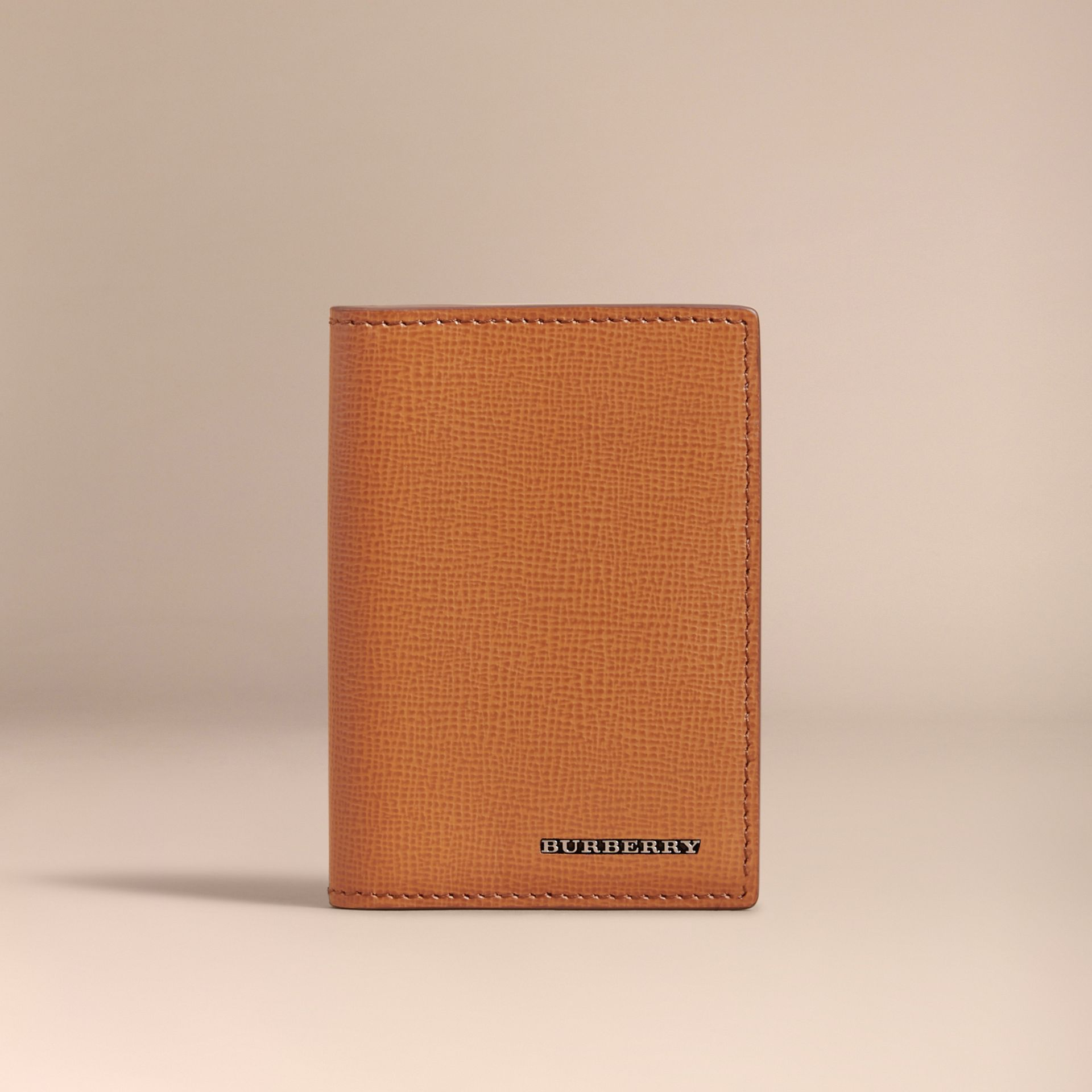 London Leather Folding Card Case in Tan - Men | Burberry Singapore - gallery image 2