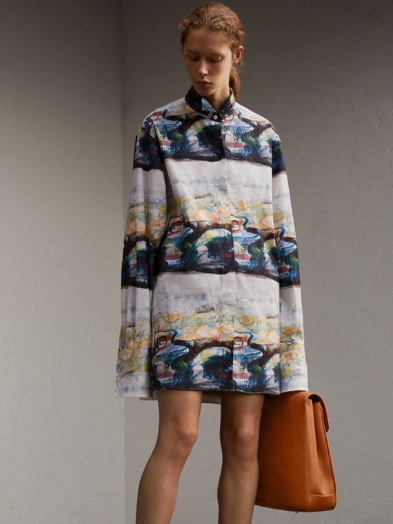 Reclining Figure: Bunched Print Stretch Cotton Shirt Dress