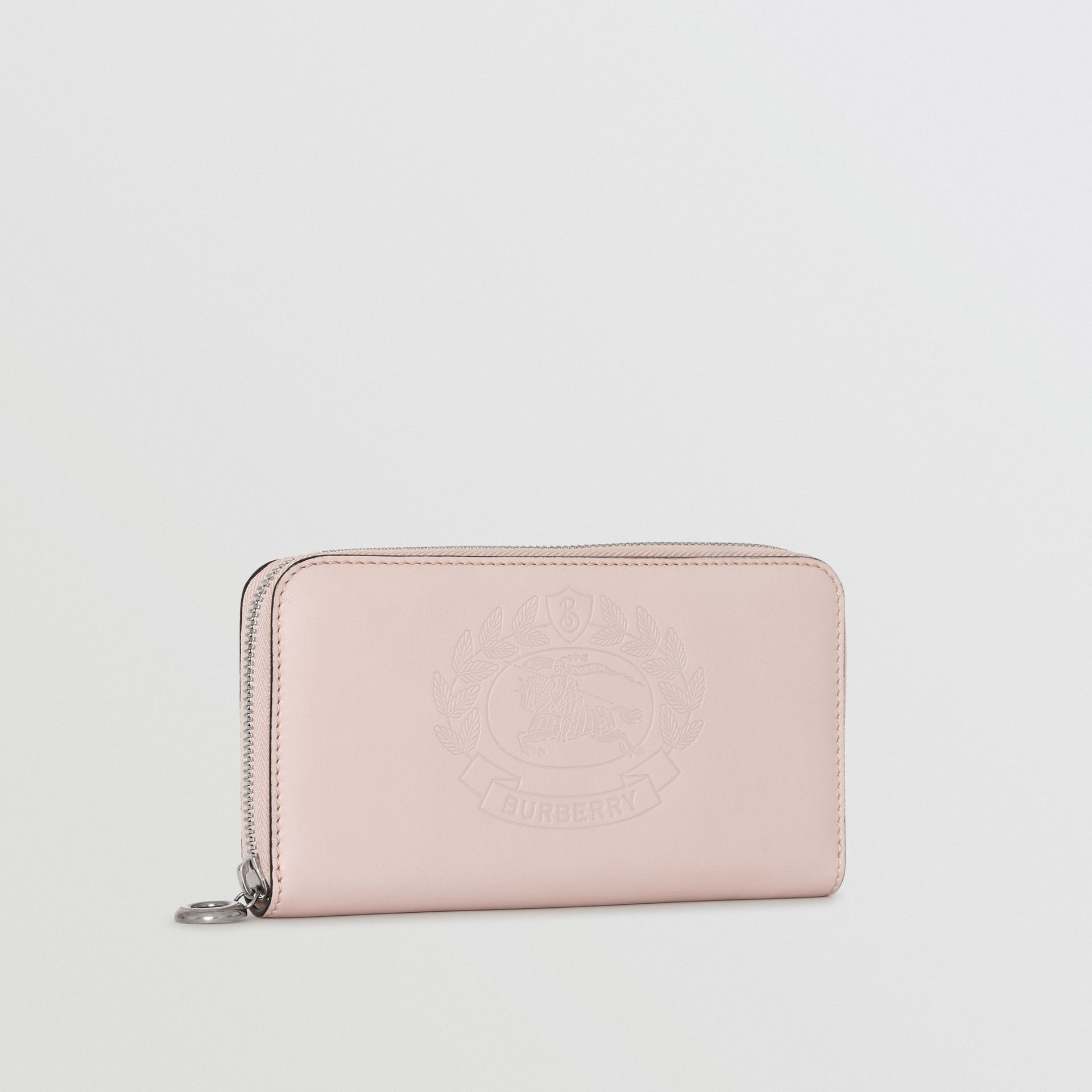 Embossed Crest Two-tone Leather Ziparound Wallet in Chalk Pink - Women | Burberry - gallery image 3