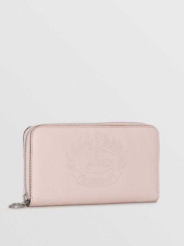 Embossed Crest Two-tone Leather Ziparound Wallet in Chalk Pink - Women | Burberry United States - cell image 3