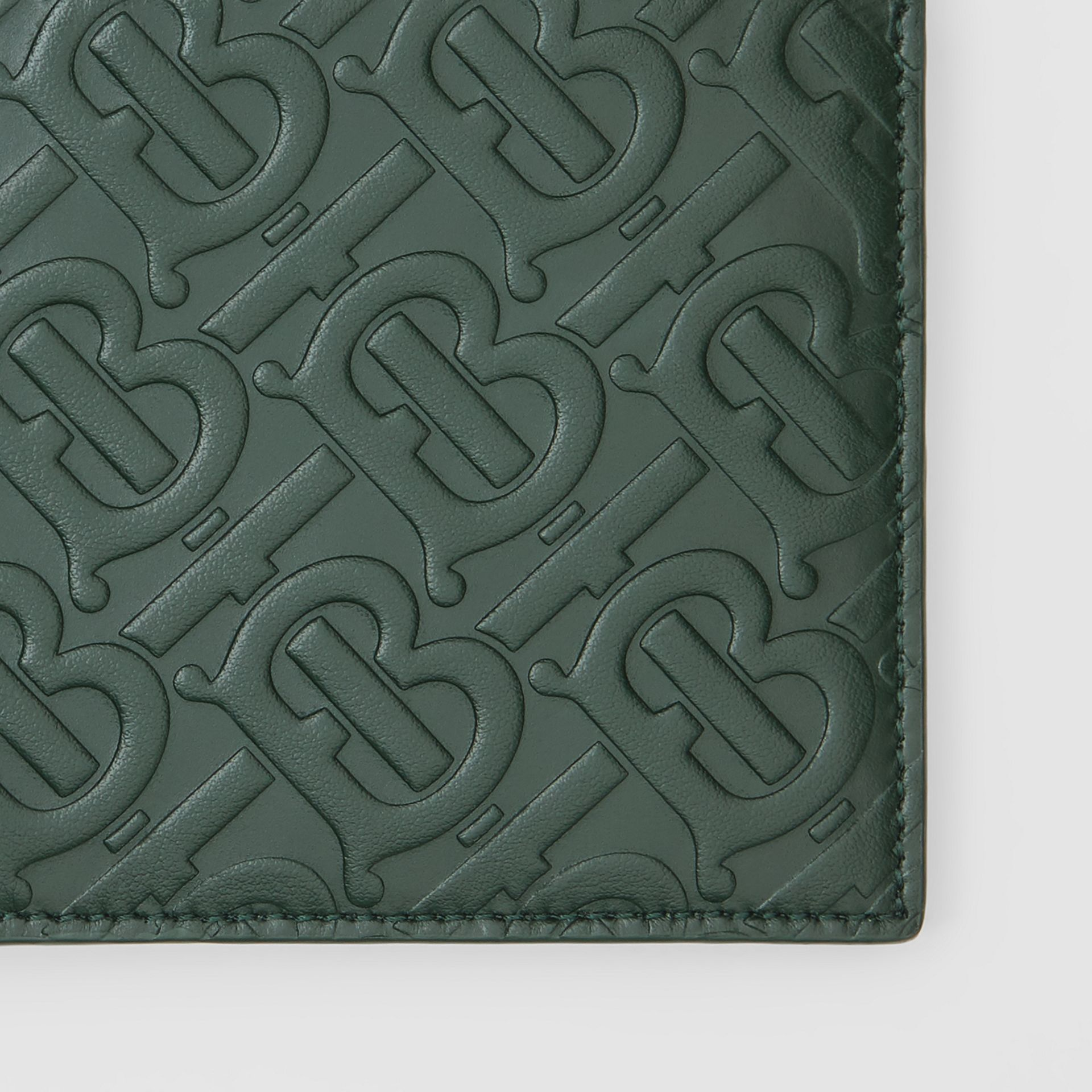 Monogram Leather International Bifold Wallet in Dark Pine Green - Men | Burberry - gallery image 1