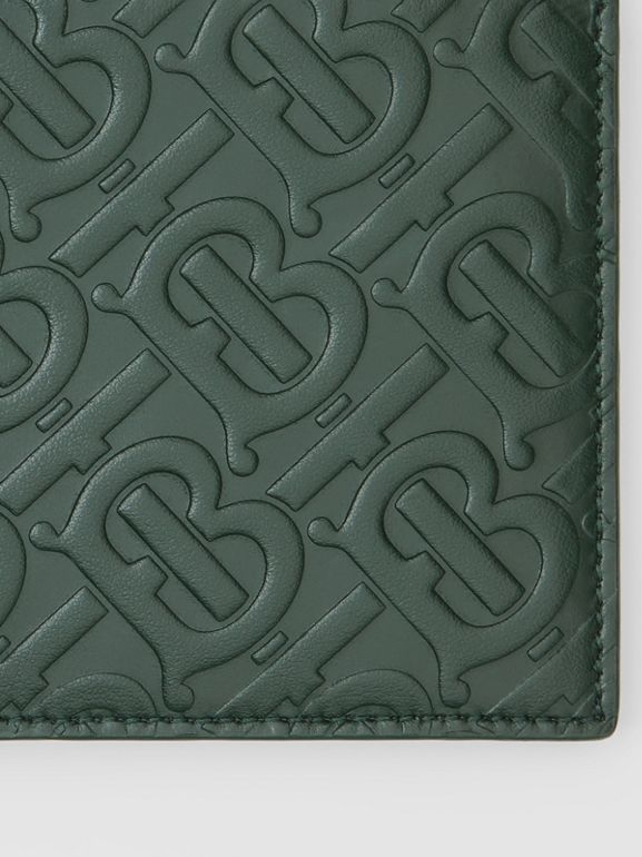 Monogram Leather International Bifold Wallet in Dark Pine Green - Men | Burberry - cell image 1