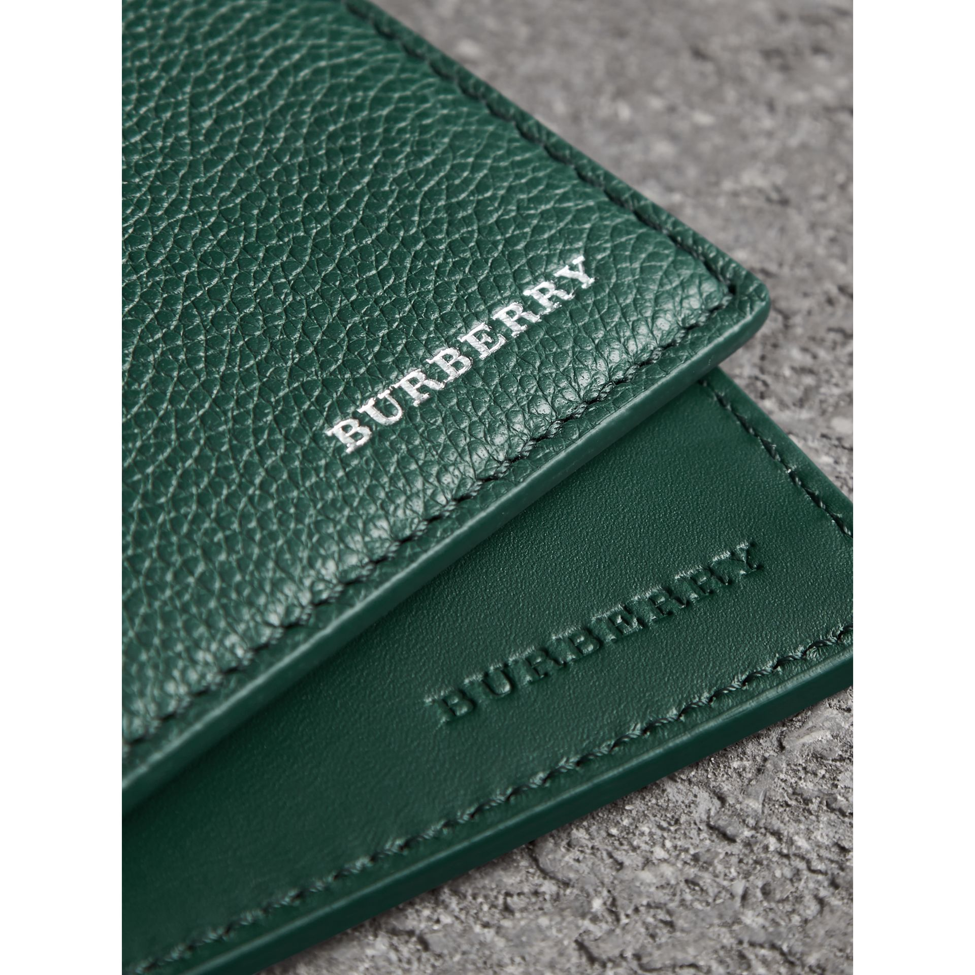 Grainy Leather International Bifold Wallet in Dark Cyan - Men | Burberry - gallery image 1