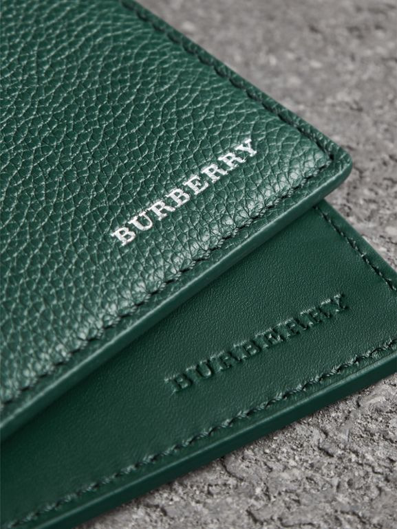 Grainy Leather International Bifold Wallet in Dark Cyan - Men | Burberry - cell image 1