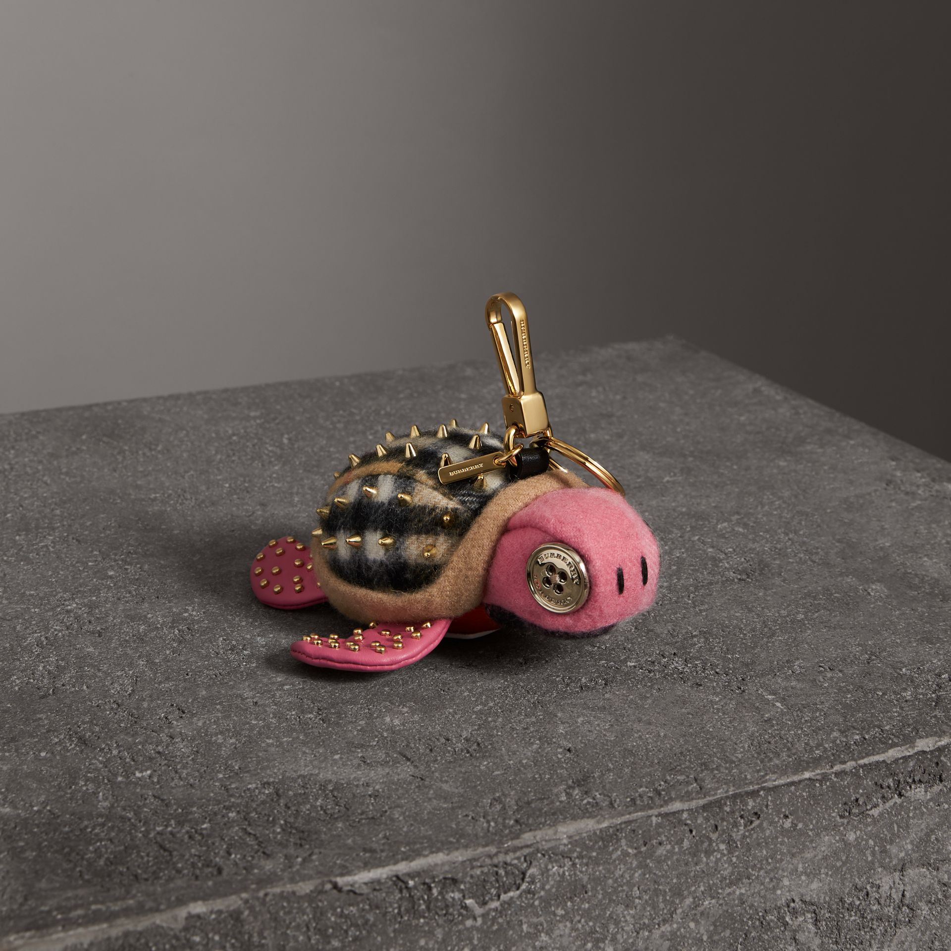 Beatrice The Turtle Cashmere Charm in Pink/antique Yellow | Burberry - gallery image 0
