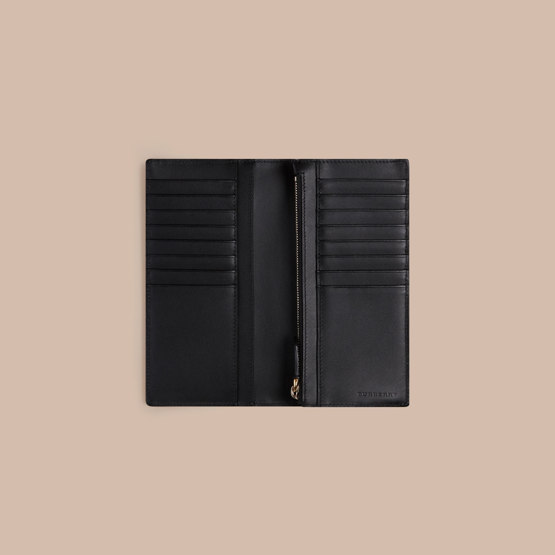 London Check and Leather Continental Wallet in Chocolate/black - gallery image 4