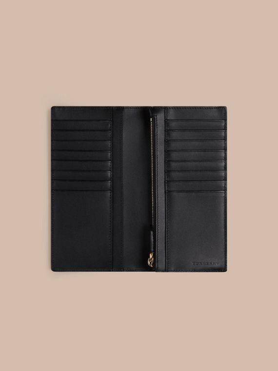 London Check and Leather Continental Wallet in Chocolate/black - cell image 3