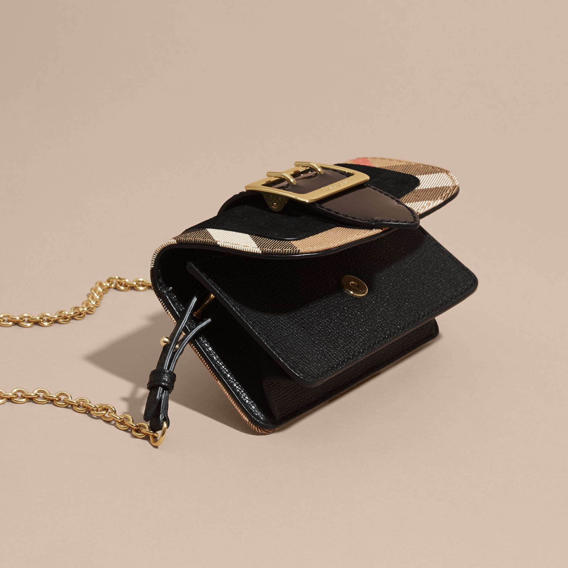 The Mini Buckle Bag in Leather and House Check Black - gallery image 8