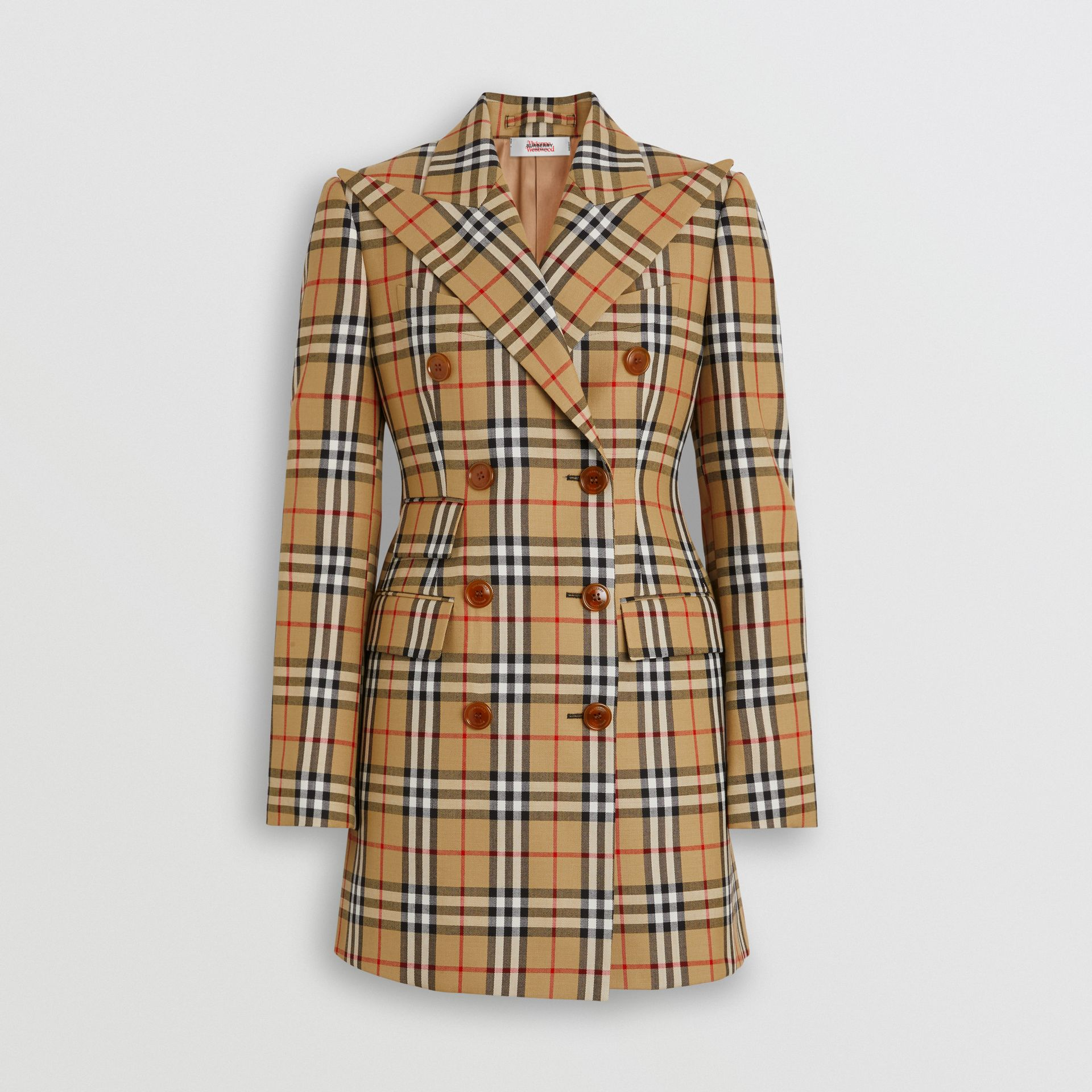 Vintage Check Wool Double-breasted Jacket in Antique Yellow - Women | Burberry Hong Kong - gallery image 3