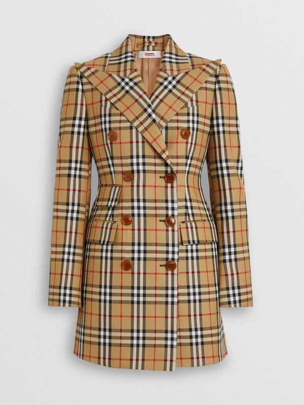 Vintage Check Wool Double-breasted Jacket in Antique Yellow - Women | Burberry - cell image 3
