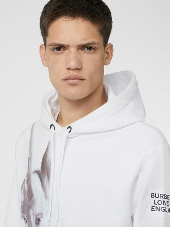 Unicorn Print Cotton Hoodie in White - Men | Burberry Hong Kong - cell image 1