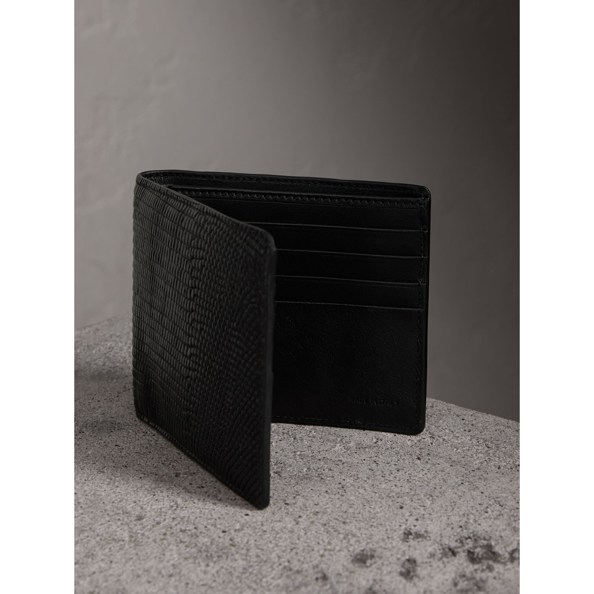 Lizard International Bifold Wallet in Black - Men | Burberry Australia - gallery image 3