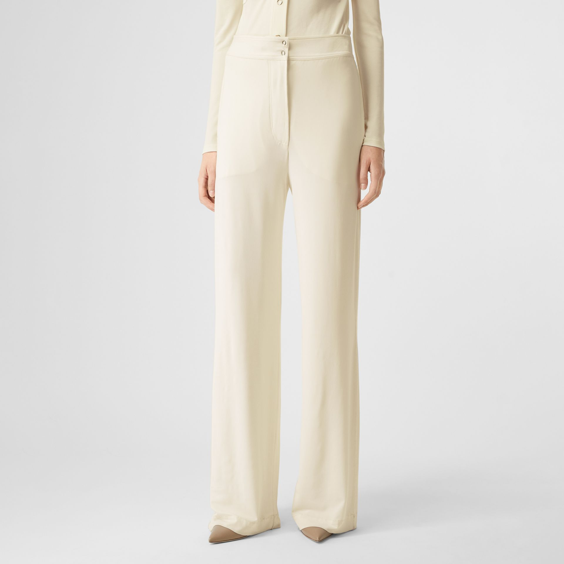 Jersey Wide-leg Trousers in Off White - Women | Burberry - gallery image 3