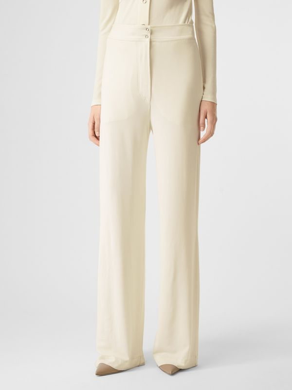 Jersey Wide-leg Trousers in Off White - Women | Burberry - cell image 3