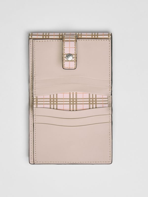 Small Scale Check and Leather Folding Wallet in Ice Pink - Women | Burberry Australia - cell image 3