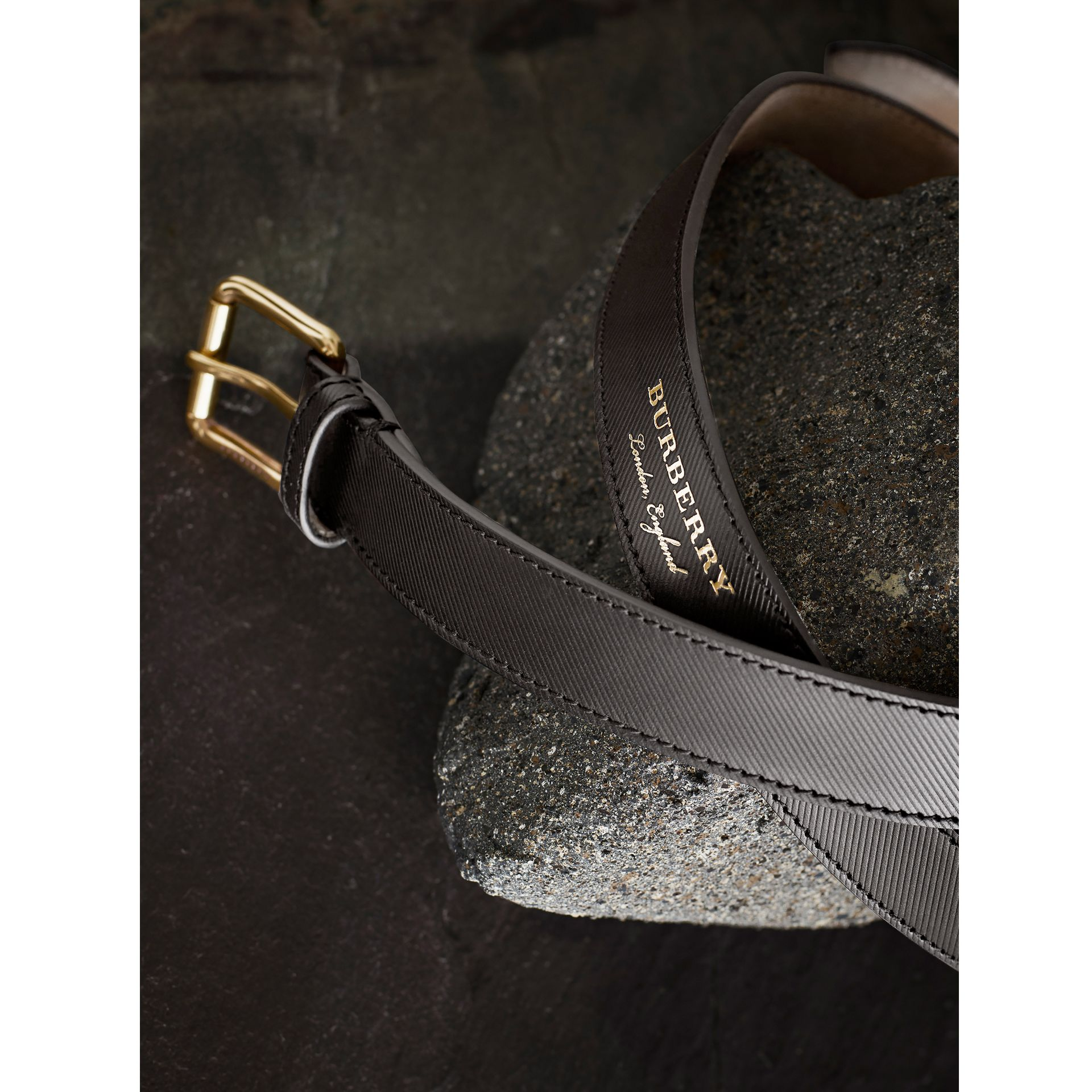 Trench Leather Belt in Black - Men | Burberry Singapore - gallery image 1