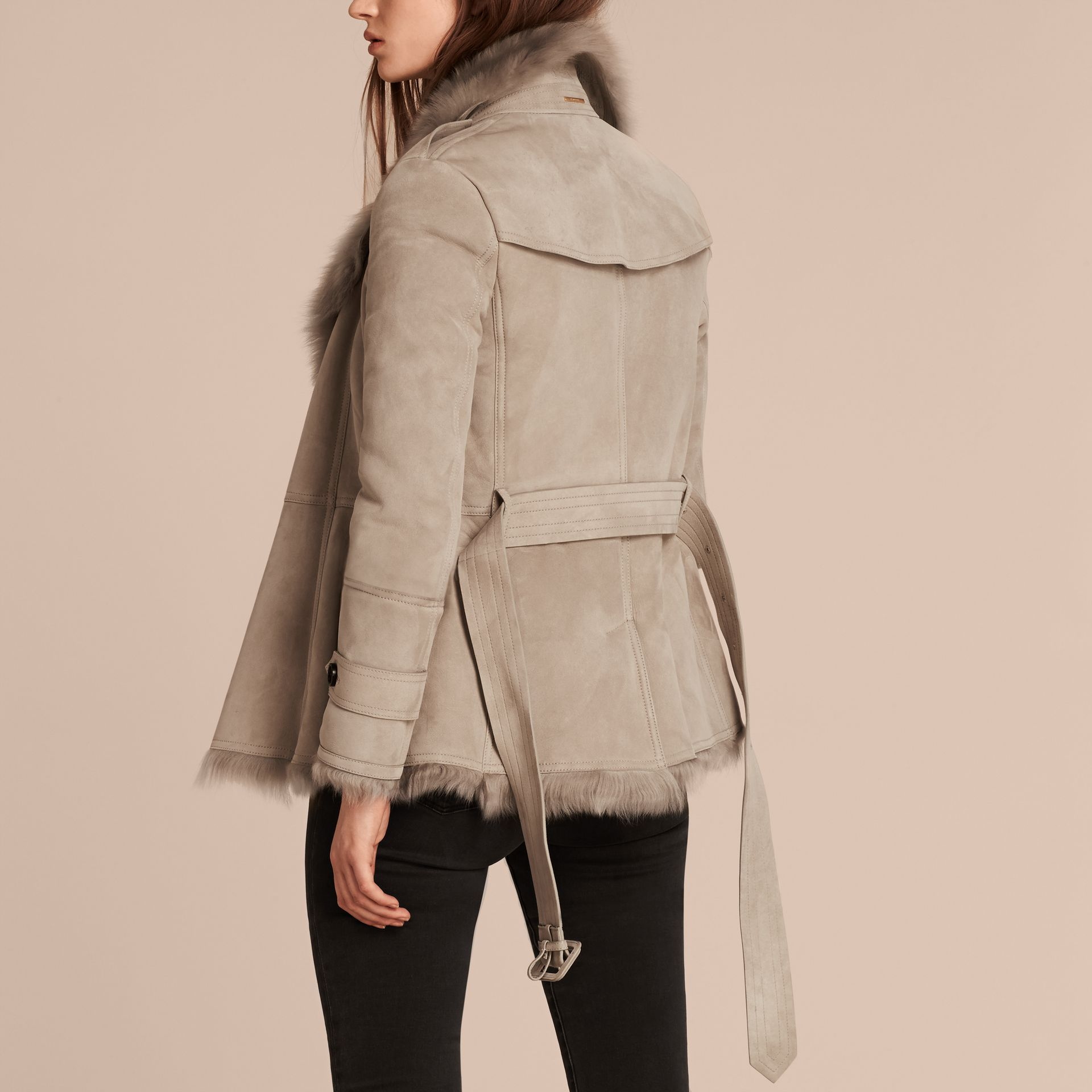 Pale grey Shearling Wrap Jacket - gallery image 3