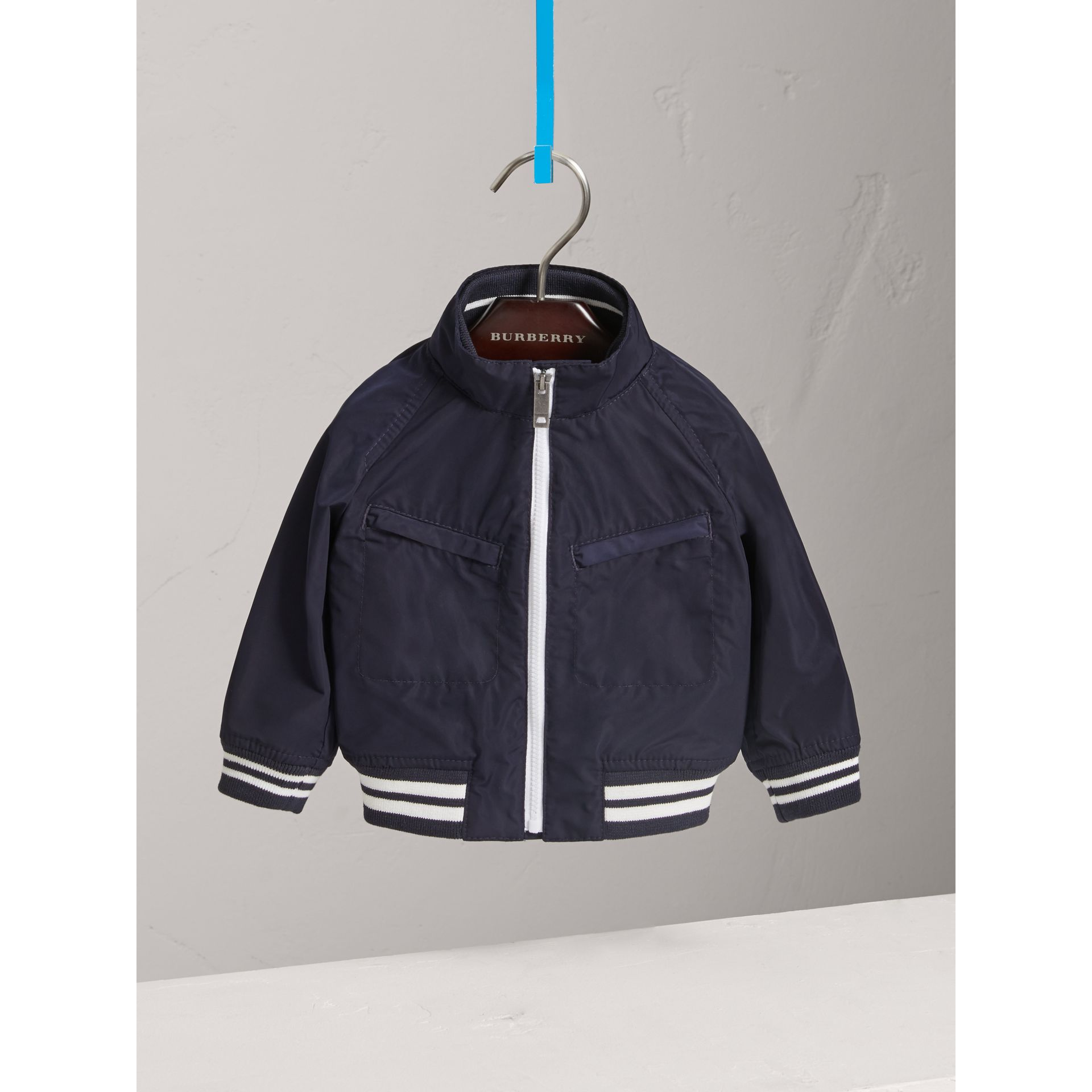 Lightweight Funnel-neck Jacket in Navy - Children | Burberry - gallery image 0