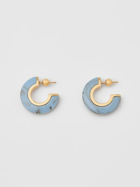 Marbled Resin Gold-plated Hoop Earrings in Light Gold/robin Blue