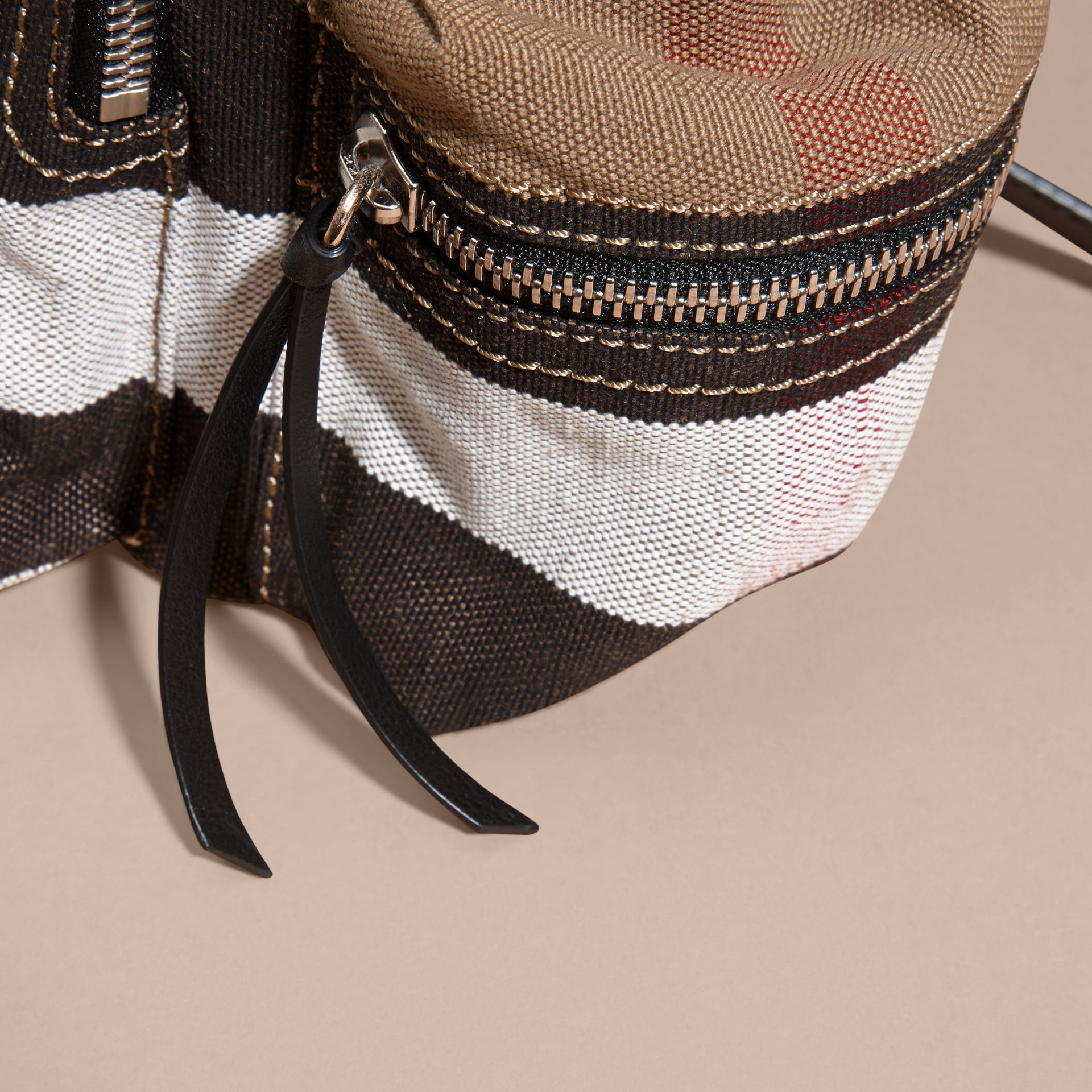 The Medium Rucksack in Canvas Check and Leather - gallery image 6