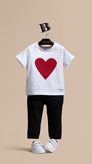 Heart Print Cotton T-shirt