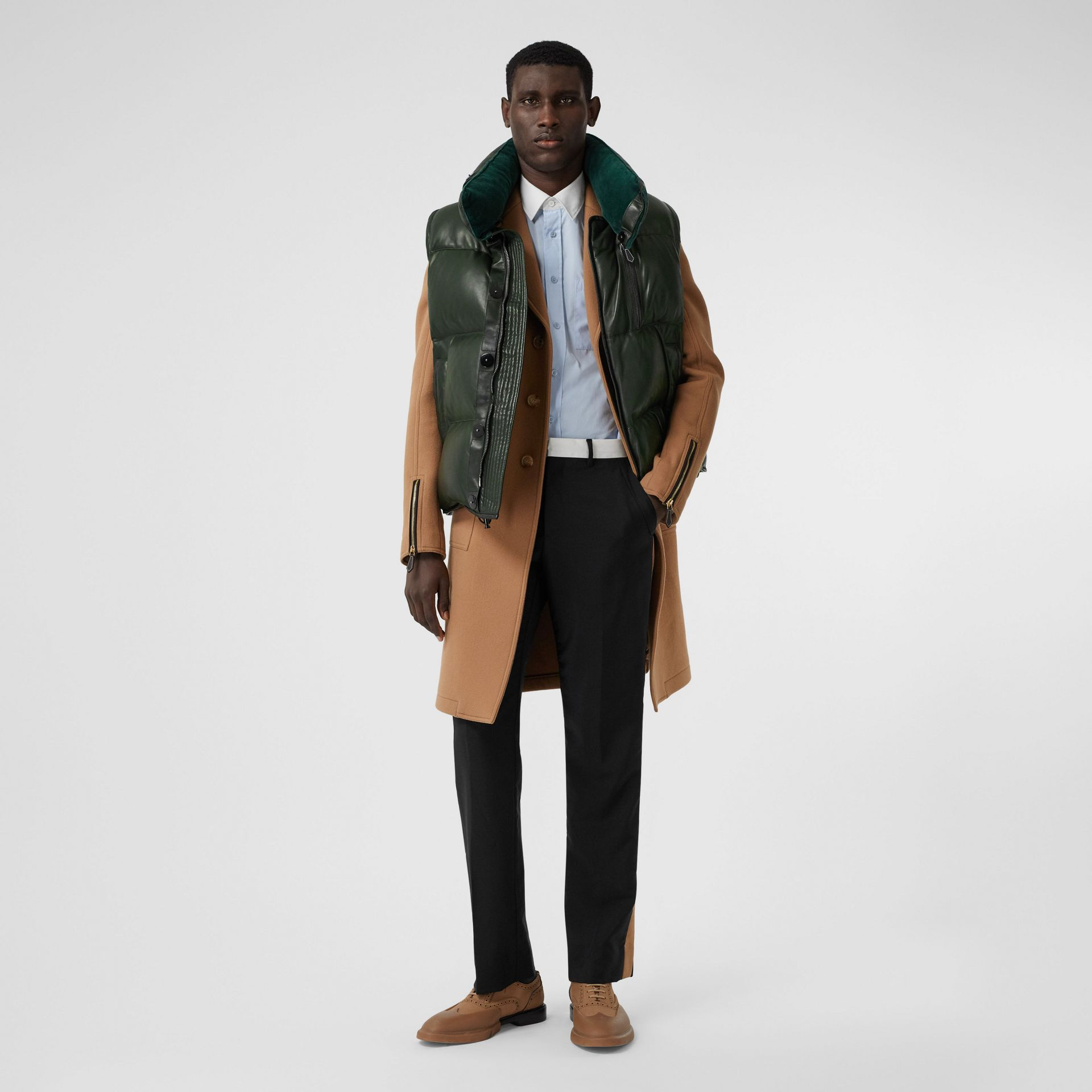 Velvet Trim Down-filled Lambskin Puffer Gilet in Dark Pine Green - Men | Burberry - gallery image 0