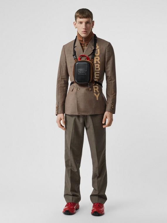 Elegante Wollhose mit Taschen im Überschlagsdesign (Beige)