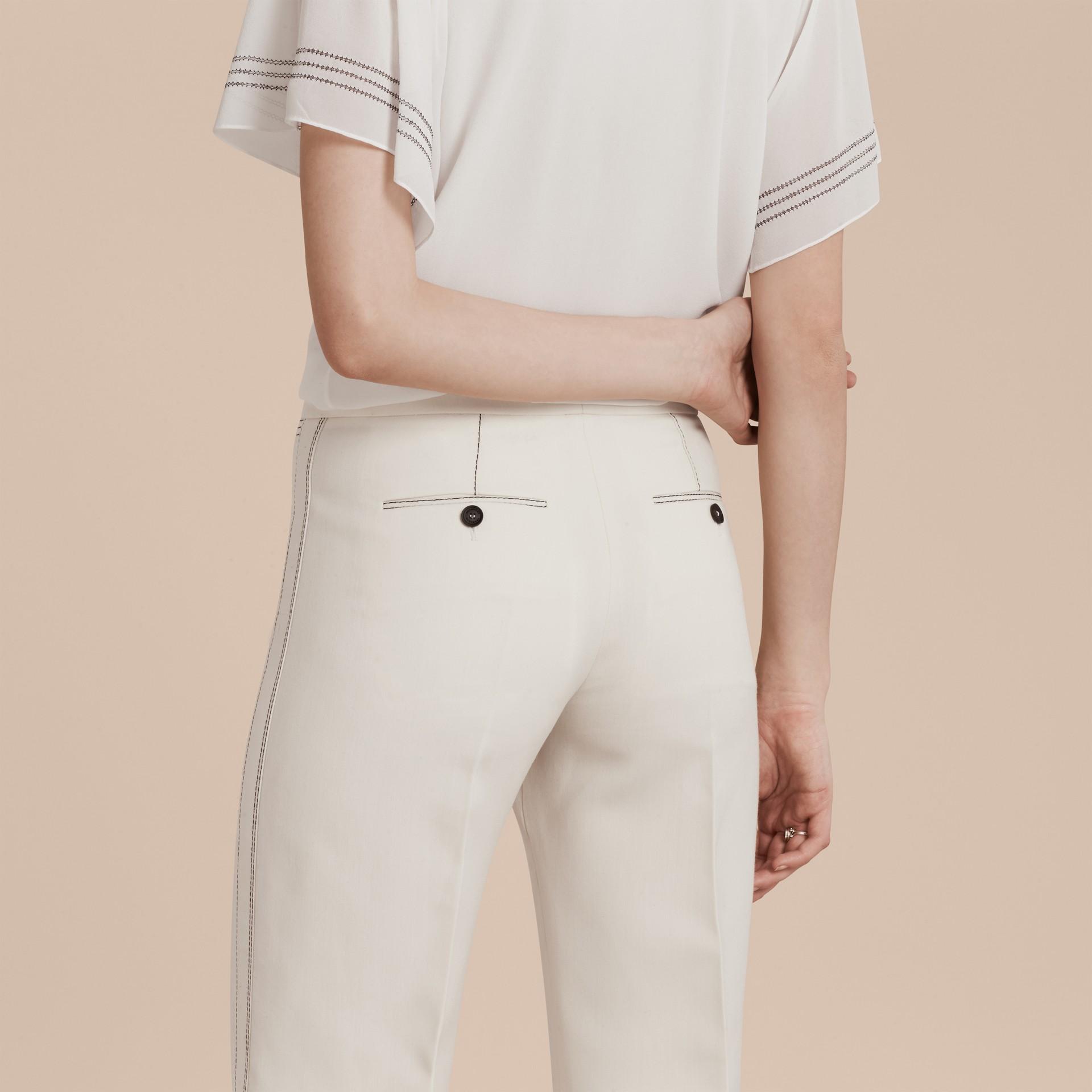 White Wool Silk Wide Leg Trousers - gallery image 5
