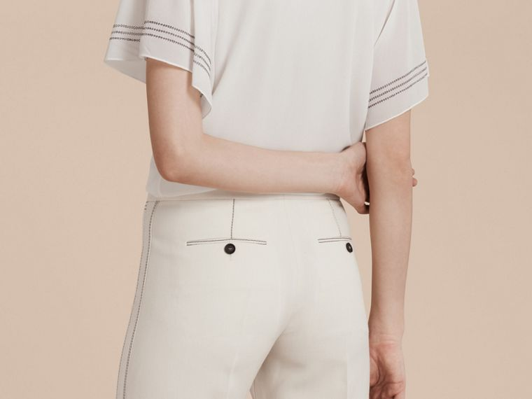 White Wool Silk Wide Leg Trousers - cell image 4