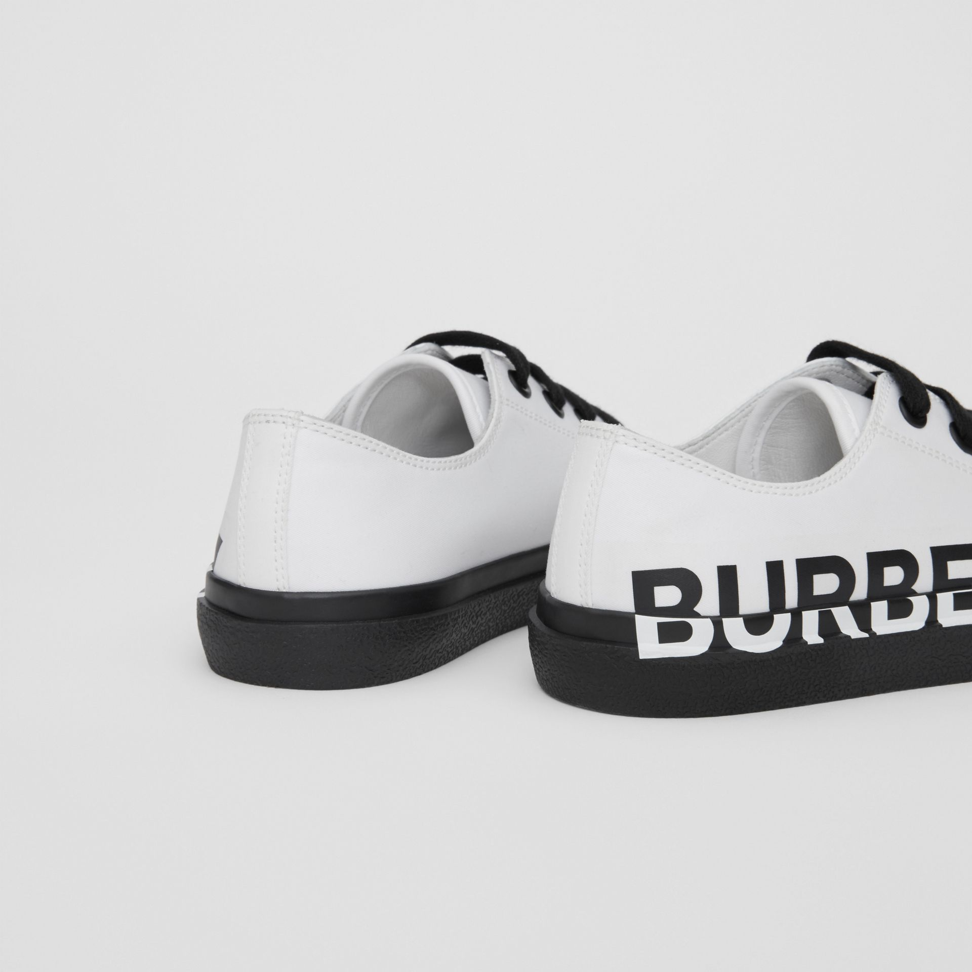 Logo Print Two-tone Cotton Gabardine Sneakers in Optic White/black - Children | Burberry United Kingdom - gallery image 1