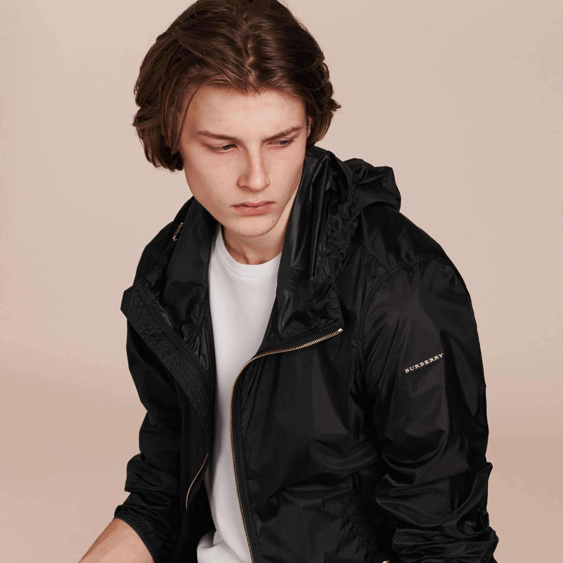 Black Ultra-lightweight Jacket with Hood Black - gallery image 5