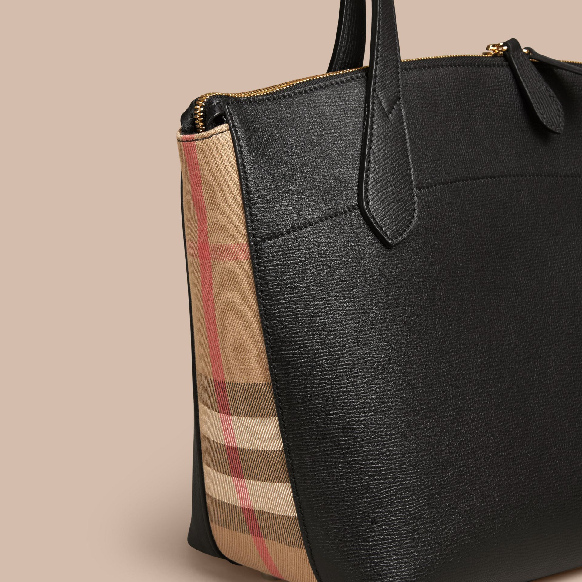 Medium Leather and House Check Tote Bag in Black - Women | Burberry - gallery image 6