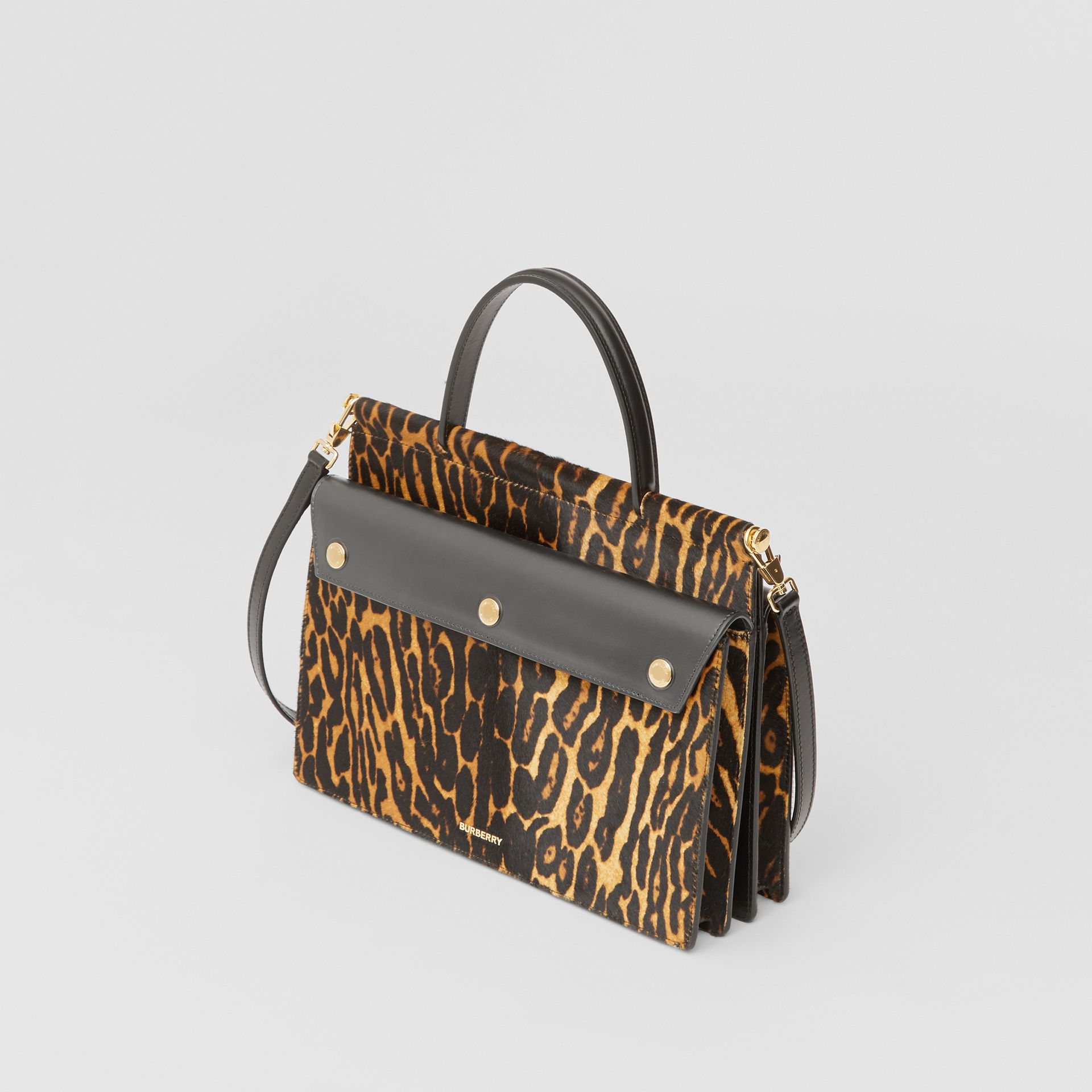 Small Leopard Print Title Bag with Pocket Detail in Black - Women | Burberry United Kingdom - gallery image 2