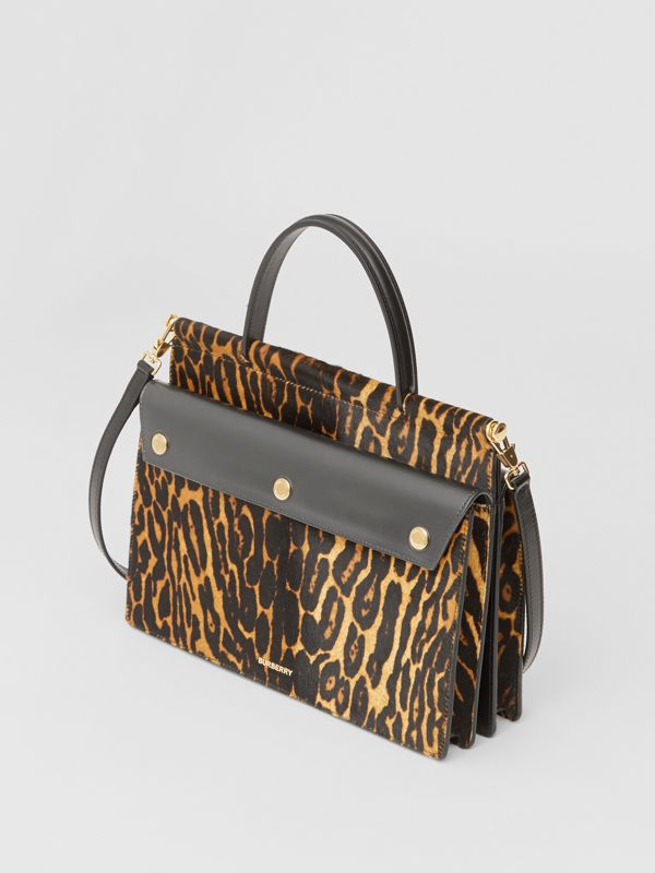 Small Leopard Print Title Bag with Pocket Detail in Black - Women | Burberry United Kingdom - cell image 2