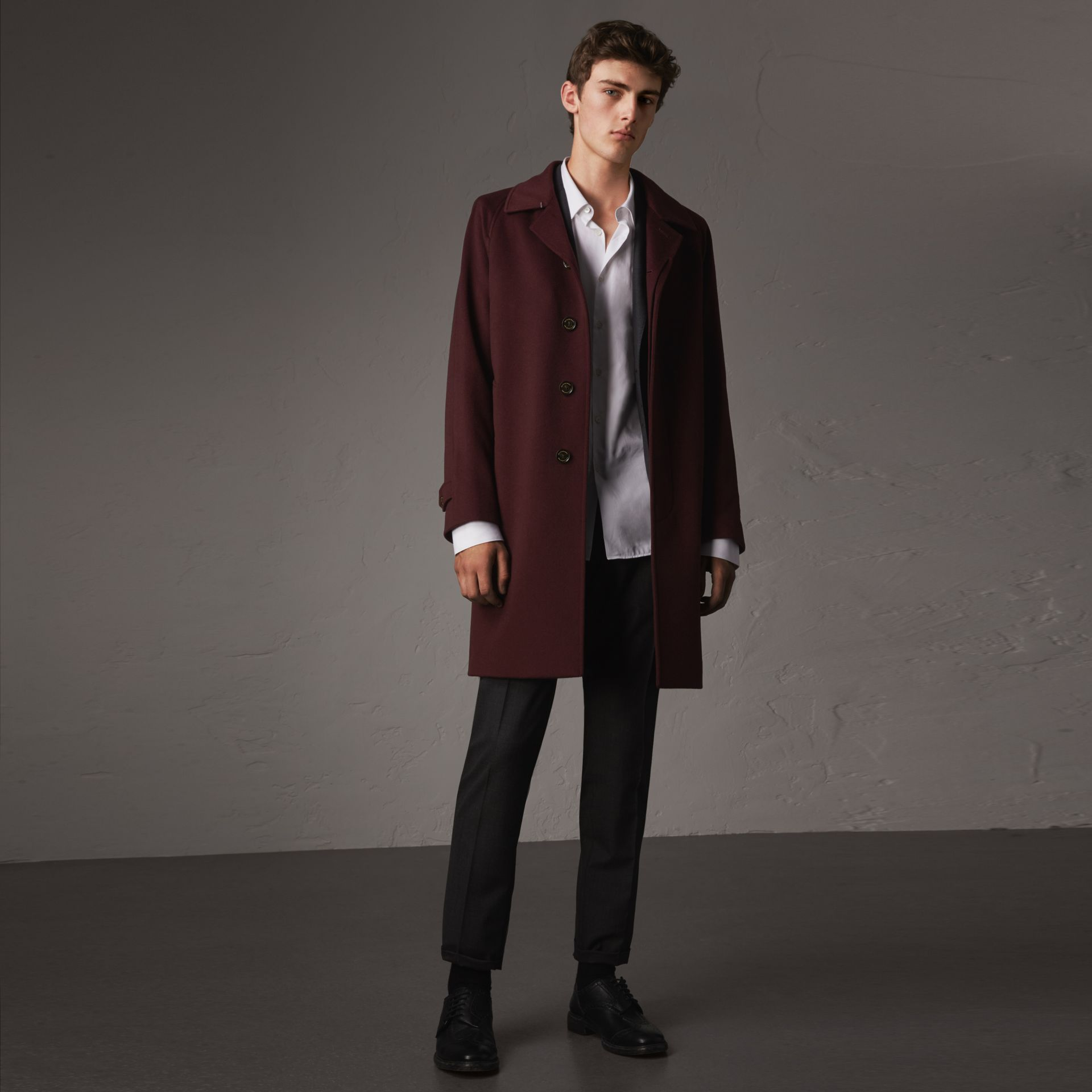 Cashmere Car Coat in Deep Claret Melange - Men | Burberry Canada - gallery image 0