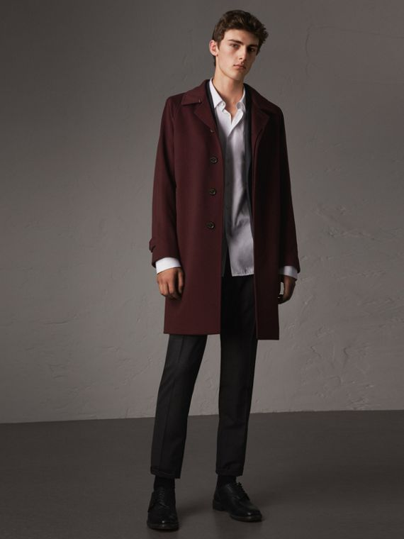 Cashmere Car Coat in Deep Claret Melange